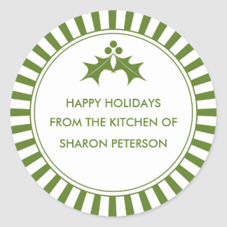 Holiday Canning Labels - Green Striped Holly