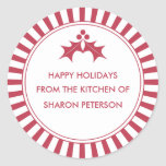 Holiday Canning Labels - Red Striped Holly Round Sticker