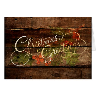 Holiday Card Christmas Greetings Rustic Wood