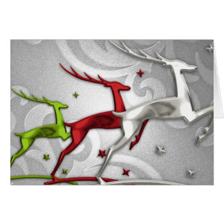 Holiday Card Reindeer Red and Green
