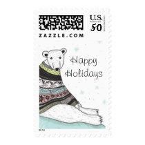 Holiday Card With Cute Polar Bear Postage