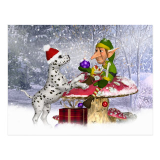 holiday card with dalmatian puppy and elf