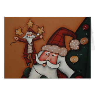 holiday card with tole painted santa on it