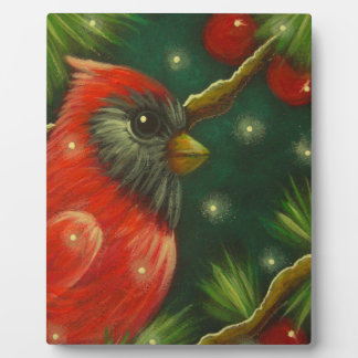 HOLIDAY CARDINAL BIRD EASEL PLAQUE