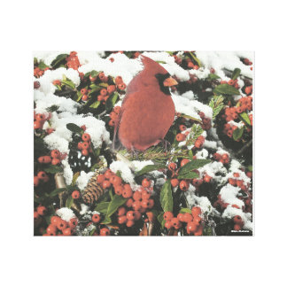 Holiday Cardinal Collage Stretched Canvas Art