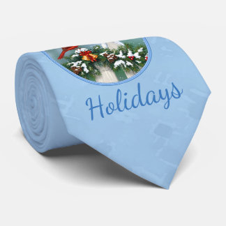 Holiday Cardinals & Christmas Garland Tie