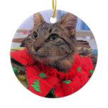Holiday Cat Ceramic Ornament