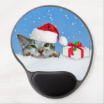 Holiday Cat in Santa Hat  Customizable Gel Mouse Pads