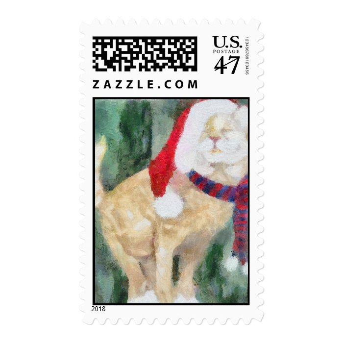 Holiday Cat Postage Stamp