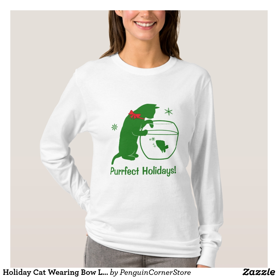 Holiday Cat Wearing Bow Looking in Fishbowl T-Shirt - Best Selling Long-Sleeve Street Fashion Shirt Designs