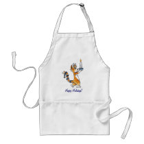 Holiday Cat with a Candle Adult Apron