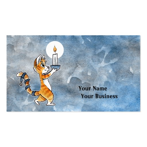 Holiday Cat with a Candle Business Card