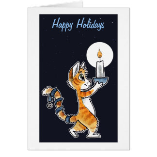 Holiday Cat with a Candle Greeting Card