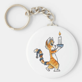 Holiday Cat with a Candle Keychain