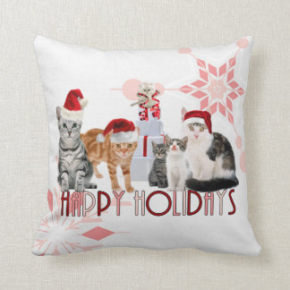 Holiday Cats Christmas | Red and Pink Snowflake Throw Pillow