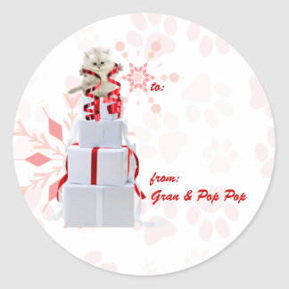 Holiday Cats Custom | Red and Pink Gift Tags Classic Round Sticker