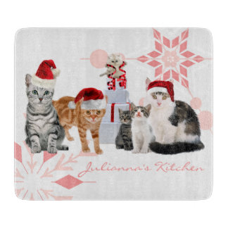 Holiday Cats Custom | Red and Pink Snowflake Cutting Boards