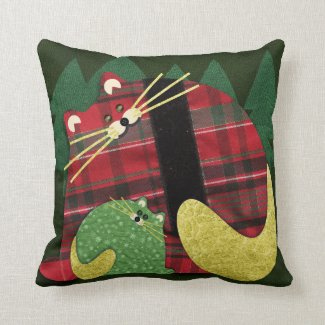 Holiday Cats Throw Pillow