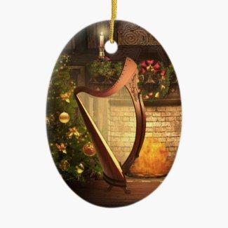 Celtic Harp Christmas Tree Ornament