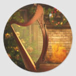 Holiday Celtic Harp Sticker