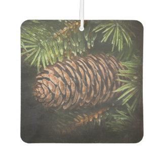 Holiday Chalk Drawn Pinecone and Pine Needles Car Air Freshener