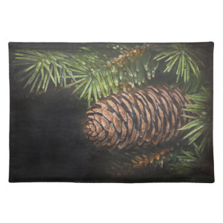 Holiday Chalk Drawn Pinecone and Pine Needles Cloth Place Mat