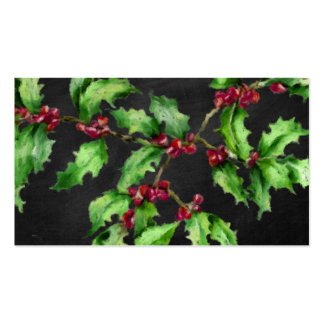 Holiday Chalk Green Holly and Red Berries Branch Business Card