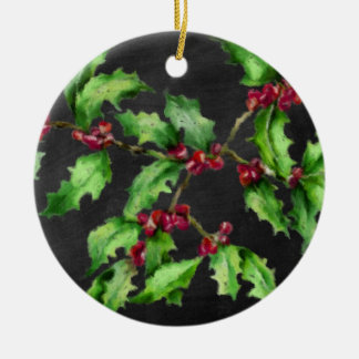 Holiday Chalk Green Holly and Red Berries Branch Ceramic Ornament