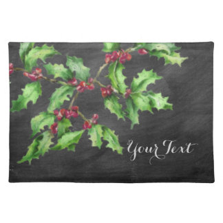 Holiday Chalk Green Holly and Red Berries Branch Placemat