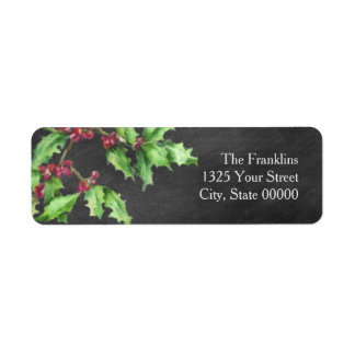 Holiday Chalk Green Holly and Red Berries Branch Return Address Label