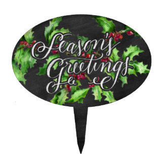 Holiday Chalk Green Holly Branch Seasons Greetings Cake Topper