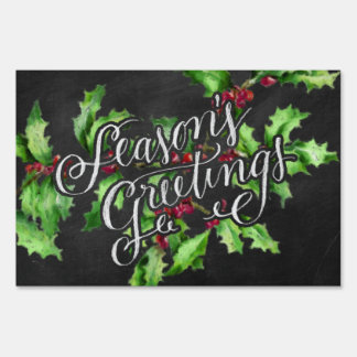 Holiday Chalk Green Holly Branch Seasons Greetings Lawn Sign