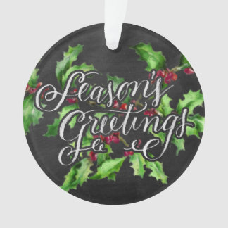 Holiday Chalk Green Holly Branch Seasons Greetings Ornament
