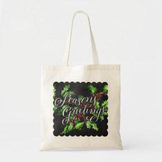 Holiday Chalk Green Holly Branch Seasons Greetings Tote Bag