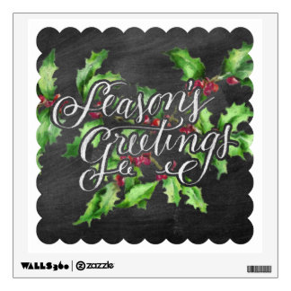 Holiday Chalk Green Holly Branch Seasons Greetings Wall Sticker