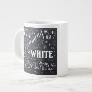 holiday chalkboard white Christmas Jumbo Mug