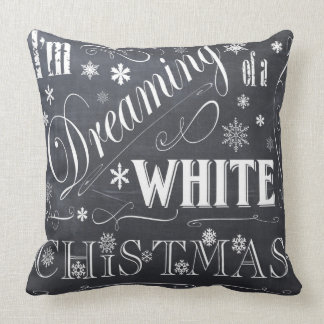 holiday  chalkboard  white Christmas Throw Pillow