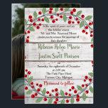 "Holiday Charm II Winter/Christmas Photo Wedding Invitation<br><div class=""desc"">A perfect invitation for your holiday/Christmas wedding!</div>"