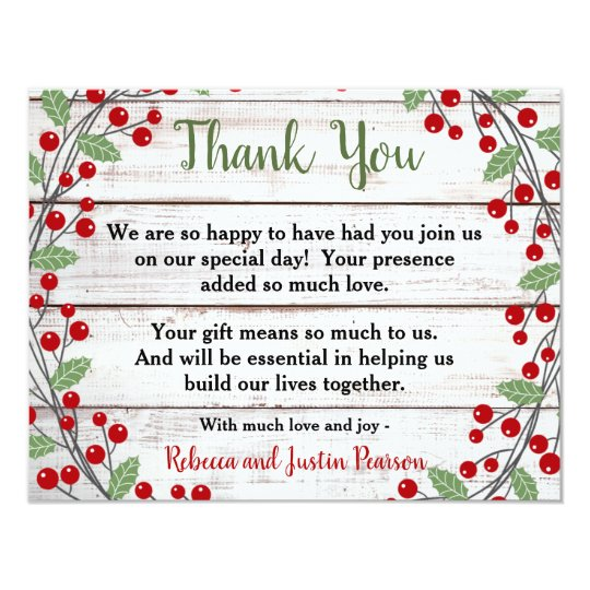 holiday charm ii winter christmas thank you note invitation zazzle com