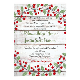 holiday charm ii winterchristmas wedding invitation