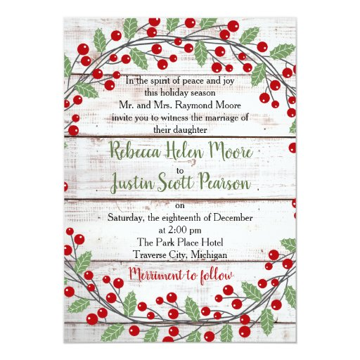 Holiday Charm II Winter/Christmas Wedding Invitation