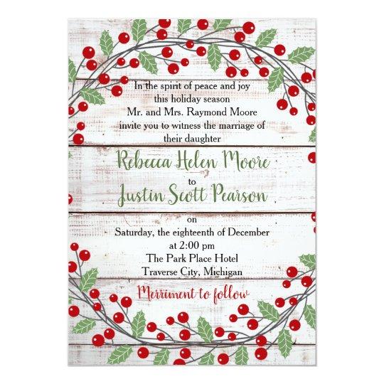 Holiday Charm Ii Winter Christmas Wedding Invitation Zazzle Com