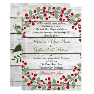 holiday charm winterchristmas wedding invitation