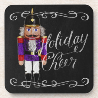 Holiday Cheer Chalkboard Purple and Red Nutcracker Coaster