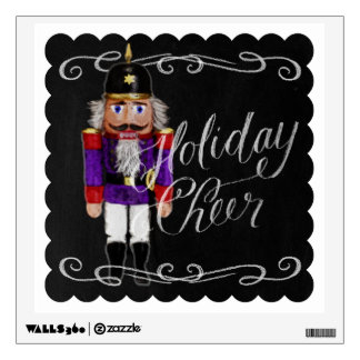 Holiday Cheer Chalkboard Purple and Red Nutcracker Wall Decal