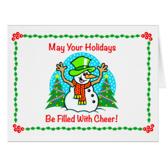 Holiday Cheer Christmas Snowman Big Greeting Card