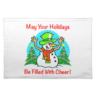 Holiday Cheer Christmas Snowman Place Mats