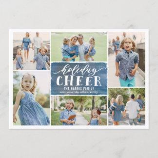 Holiday Cheer Collage Holiday Photo Card Navy