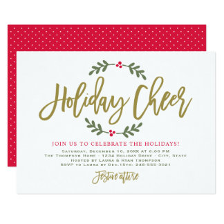Holiday Cheer | Gold Script Party Invitations