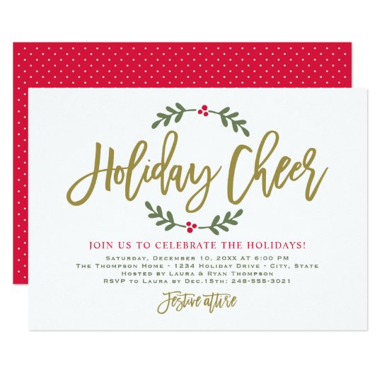 Holiday Cheer Gold Script Party Invitations Zazzle Com
